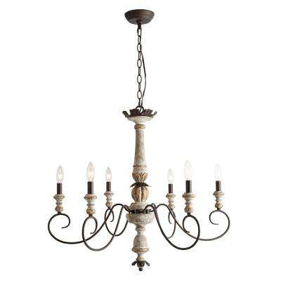 6-Light Antique White Wood French Country Farmhouse Chandelier