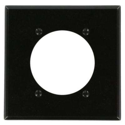 2-Gang with 2.465 in. Dia Hole, Standard Size Plastic Power Outlet Wall Plate - Black