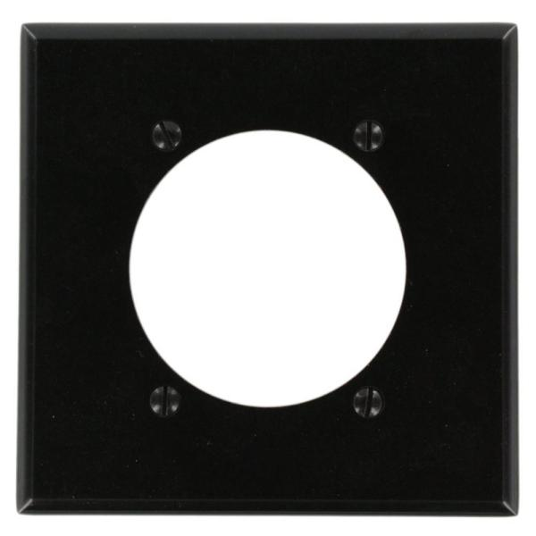 Black 2-Gang Single Outlet Wall Plate (1-Pack)