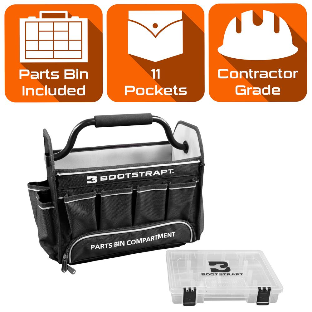 BOOTSTRAPT 15 in. Contractor's Tote Bag with Integrated Parts Bin Compartment