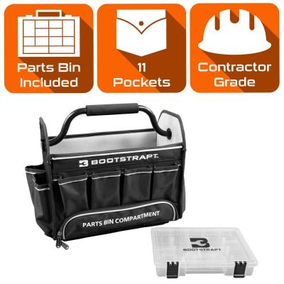 15 in. Contractor's Tote Bag with Integrated Parts Bin Compartment