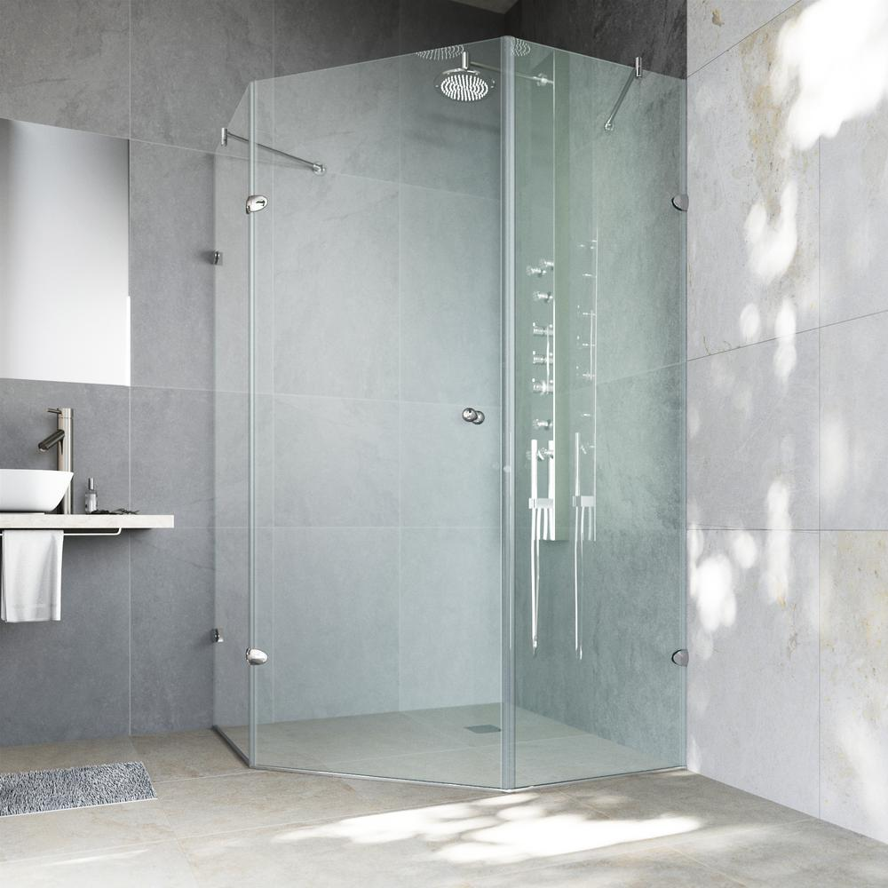VIGO Verona 36.125 in. x 73.375 in. Frameless Neo-Angle Shower Enclosure in Chrome with Clear Glass