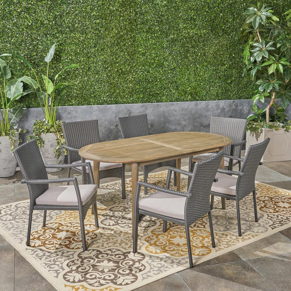 Noble House Stamford Grey 7-Piece Wicker And Wood Outdoor