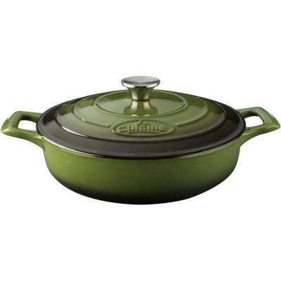 Pro Saute 3.75 Qt. Cast Iron Casserole with Green Enamel