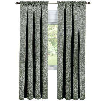 Blackout Sutton Sage Polyester Blackout Curtain Panel 52 in. W x 84 in. L