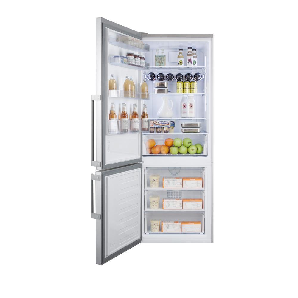 27 in. 16.8 cu. ft. Bottom Freezer Refrigerator in Stainless Steel, Counter Depth
