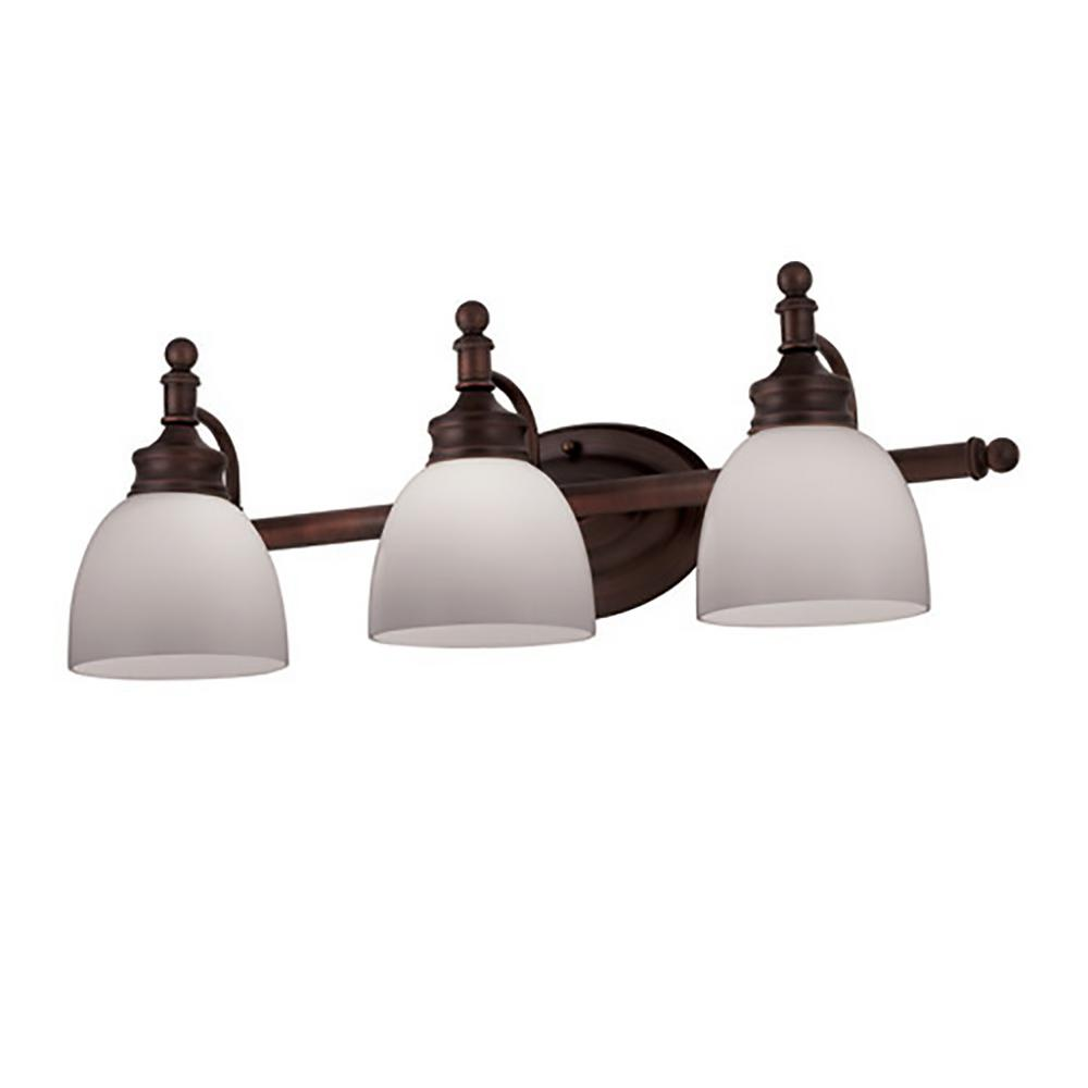 Bel Air Lighting Kovacs 3-Light Rubbed Oil Bronze Bath Light with Opal Glass