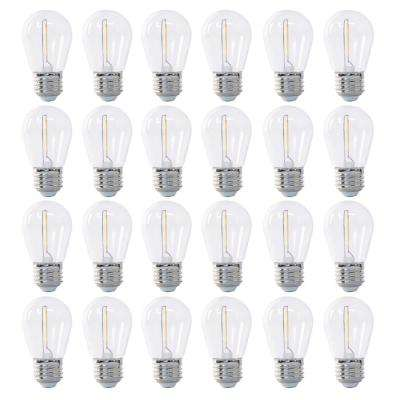 11-Watt Equivalent Soft White S14 Non-Dimmable Shatter Resistant Clear Plastic LED String Light Bulb (24-Pack)