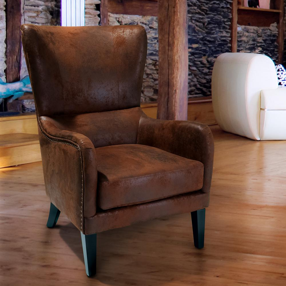 NobleHouse Noble House Lorenzo Brown Microfiber Studded Club Chair