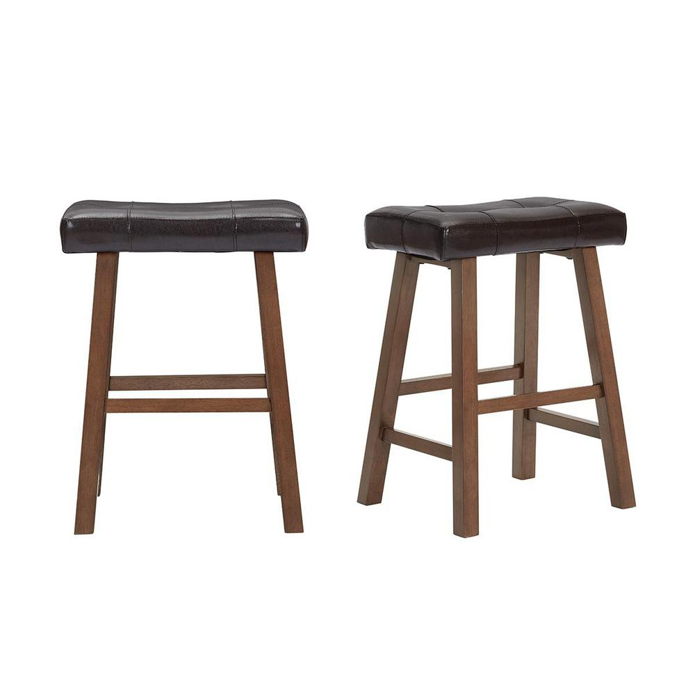 StyleWell Upholstered Counter Stool with Brown Faux Leather Saddle Seat (Set of 2) (18.75 in. W x 25 in. H), Beige/Walnut was $99.0 now $59.4 (40.0% off)