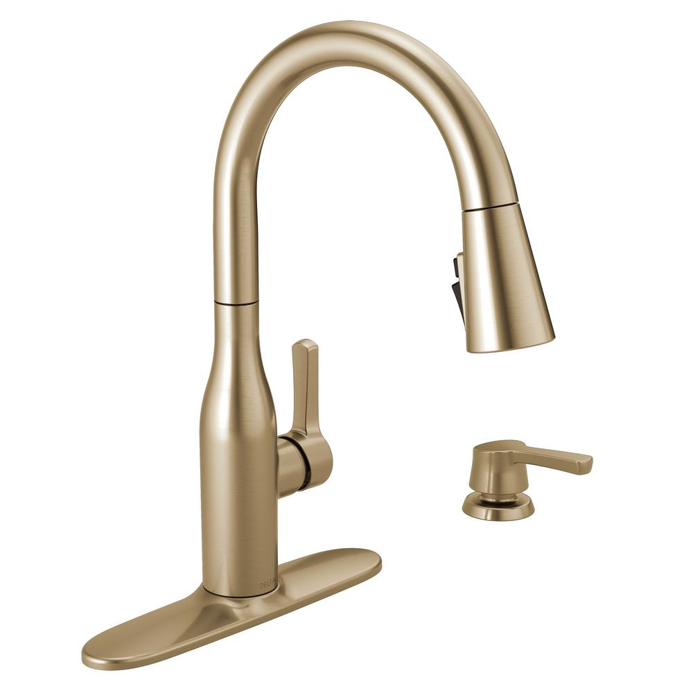 Delta Marca Single-Handle Pull-Down Sprayer Kitchen Faucet with ShieldSpray Technology in Champagne Bronze was $329.53 now $230.67 (30.0% off)