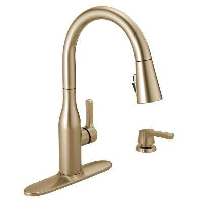 Marca Single Handle Pull Down Sprayer Kitchen Faucet With Shieldspray Technology In Champagne Bronze