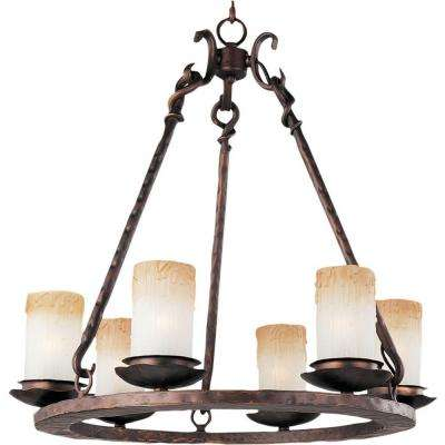 Rustic chandeliers lighting the home depot notre dame 6 light oil rubbed bronze chandelier aloadofball Choice Image