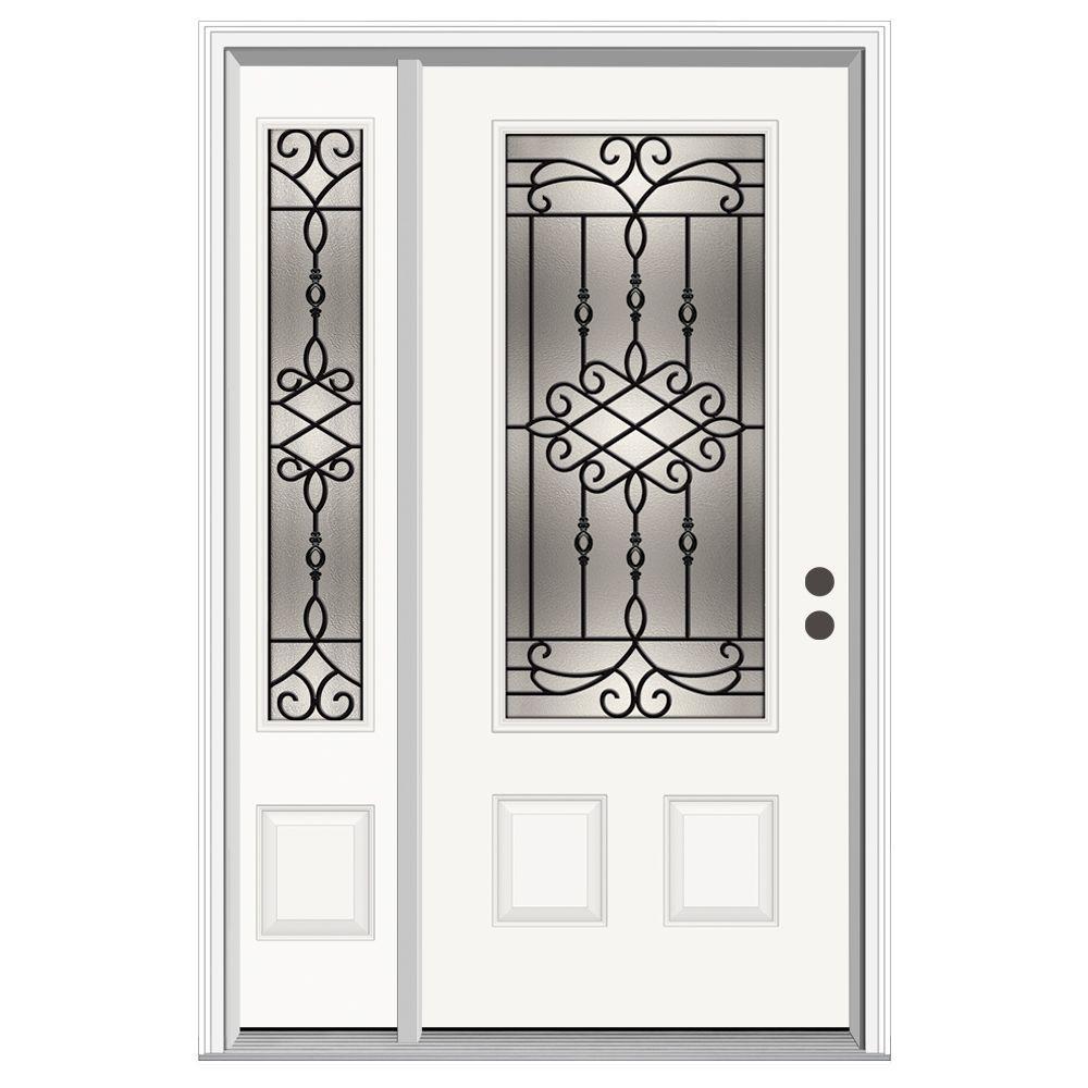 52 in. x 80 in. 3/4 Lite Sanibel Primed Steel Prehung Left-Hand Inswing Front Door with Left-Hand Sidelite