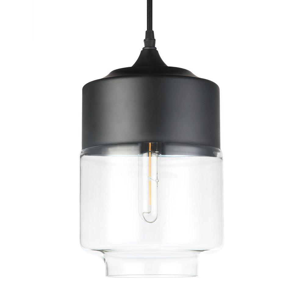 Black Industrial Light Part - 21: VONN Lighting Delphinus 1-Light 7 In. Black LED Adjustable Hanging  Industrial Pendant With