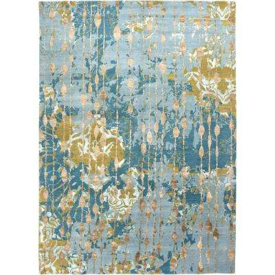 Hand Knotted Canal Blue 8 Ft. X 10 Ft. Abstract Area Rug