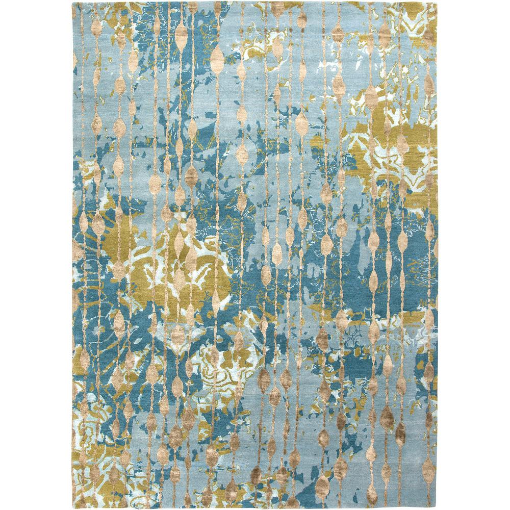 Jaipur Living Hand Knotted Canal Blue 8 Ft X 10 Ft