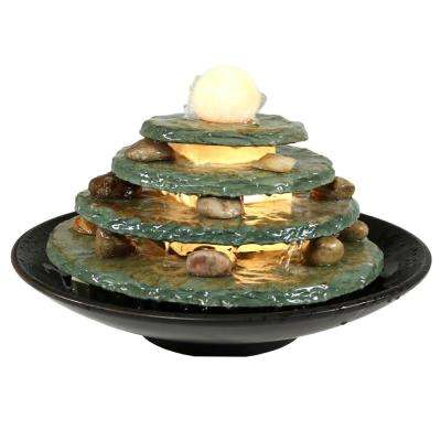 8 in. Round Multi-Level Slate Tabletop Water Fountain with LED Light