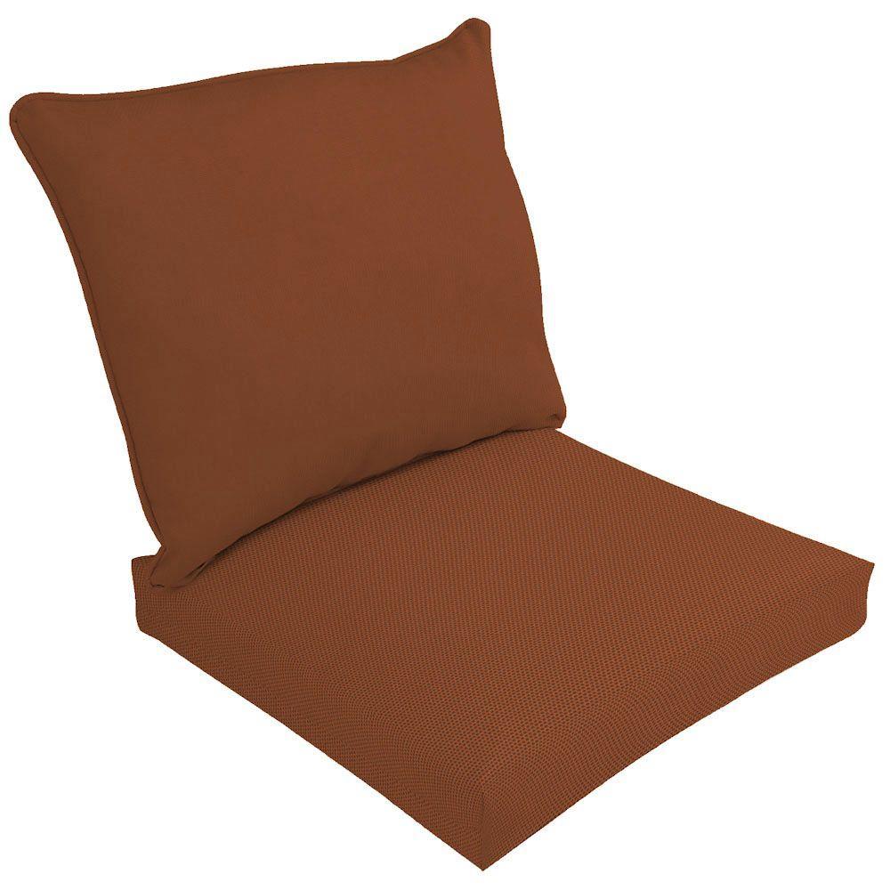 Hampton Bay Sunbrella Canvas Paprika 2-Piece Deep Seating Outdoor Lounge Chair Cushion