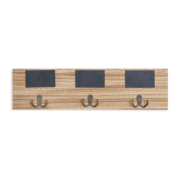 Rustic Wall Mount Entryway Coat Rack with 3-Metal Double Hooks and Chalkboard Tags