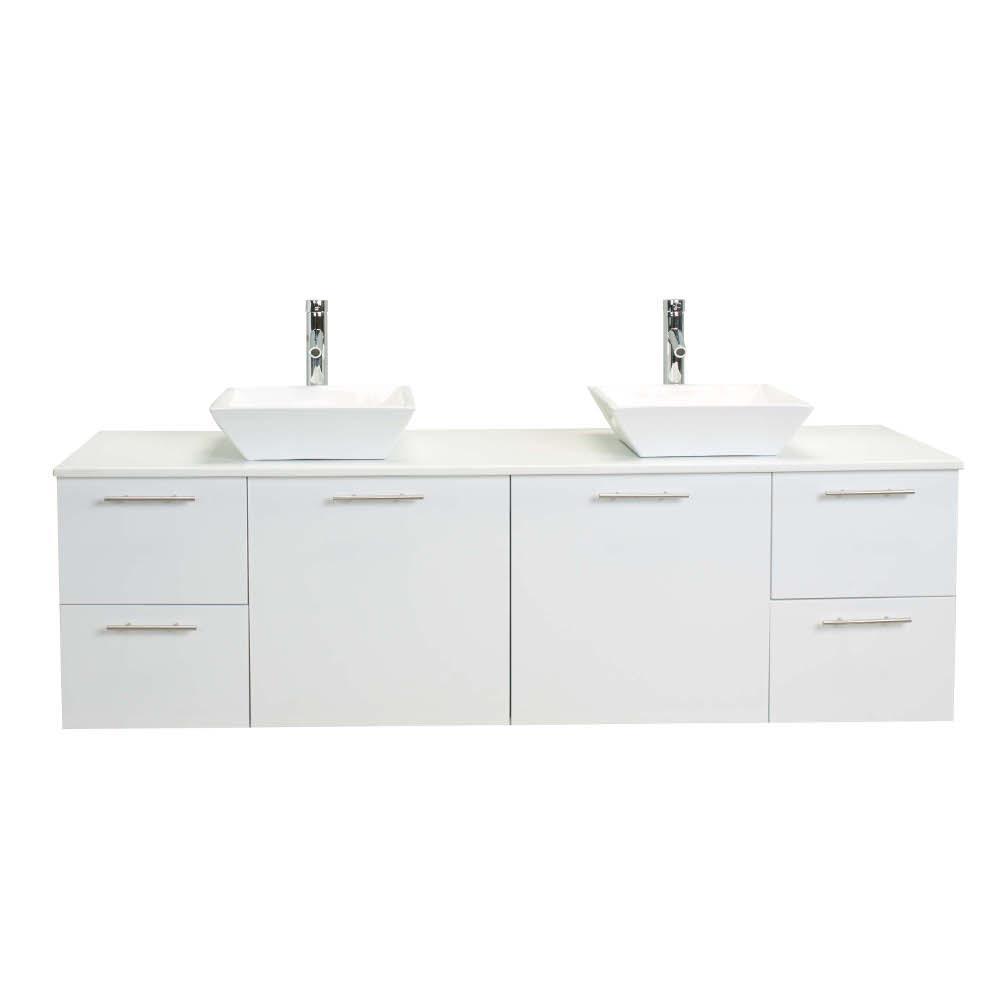 Vanity White Glassos Vanity Top White Double Basin