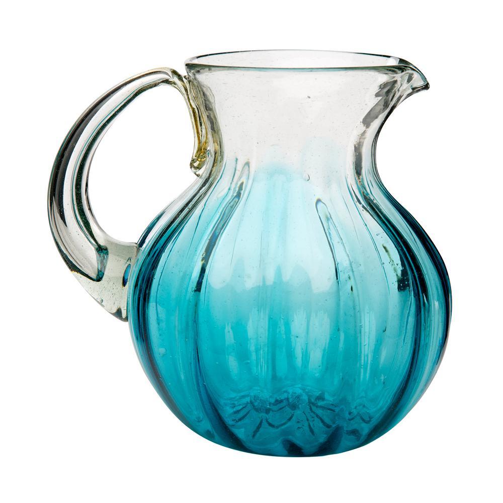 Amici Home Rosa 80 oz. Aqua Glass Pitcher with Ombre