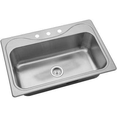 Southhaven Drop-In Stainless Steel 33 in. 3-Hole Single Basin Kitchen Sink