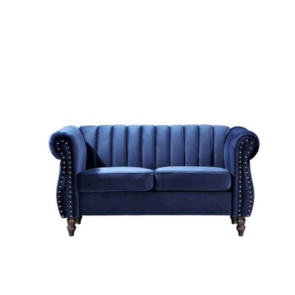 Louis 59.1 in. Dark Blue Channel Tufted Velvet 2-Seater Loveseat with Nailheads