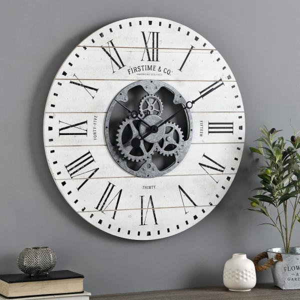 27 in. Shiplap Gears Wall Clock