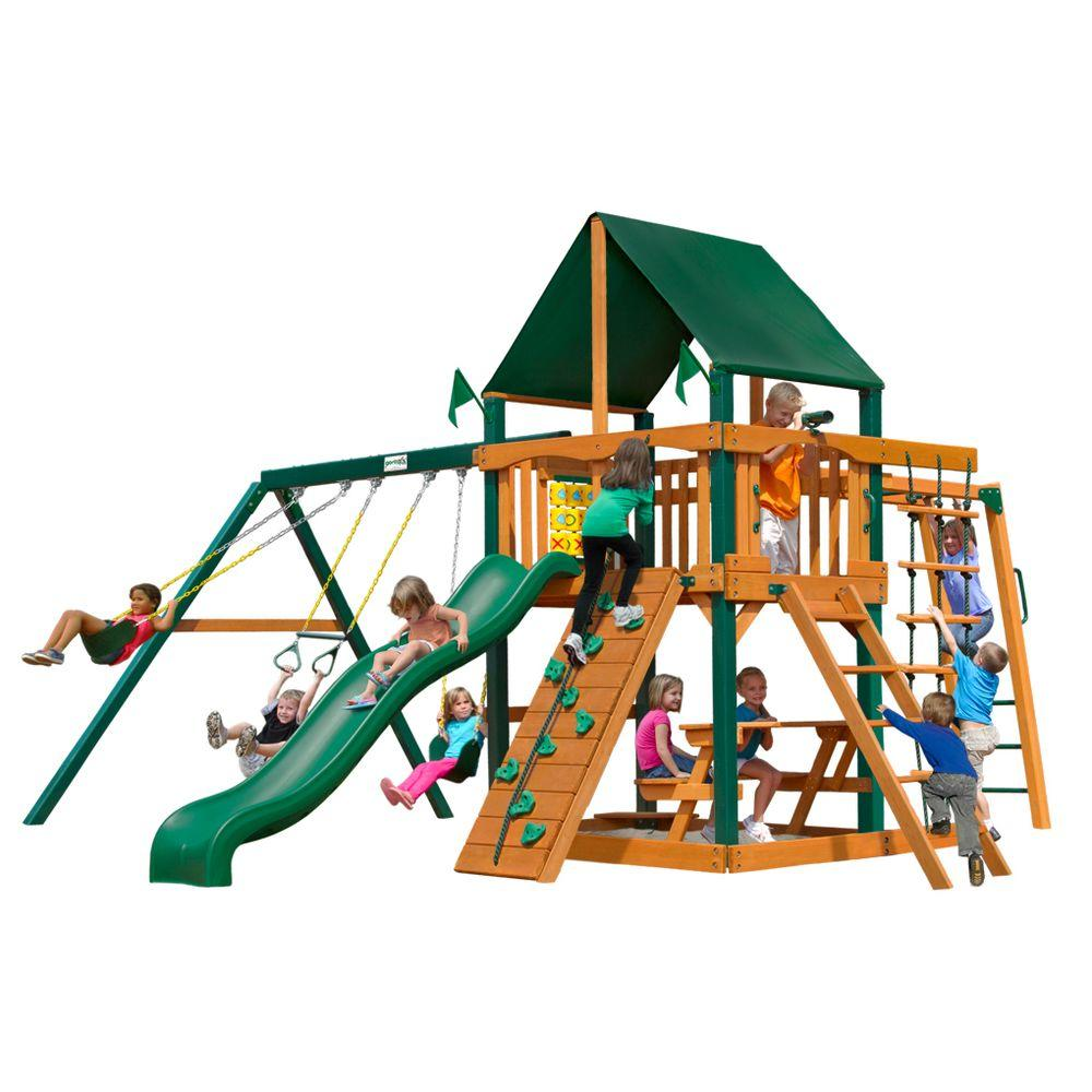 Gorilla Playsets Navigator with Timber Shield and Sunbrella Canvas Forest Green Canopy Cedar Playset
