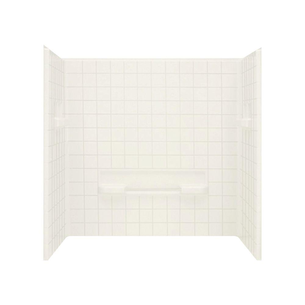 STERLING Advantage 35-1/4 in. x 60 in. x 59-1/4 in. 3-piece Direct-to-Stud Shower Wall Set in Biscuit