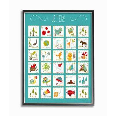 "16 in. x 20 in. ""Kids Alphabet Letter Chart Aqua"" by Karen Zukowski (Finny and Zook) Printed Framed Wall Art"