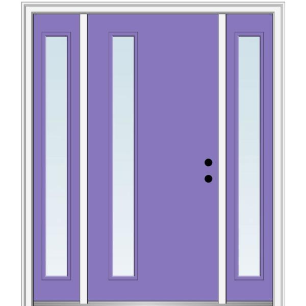 Mmi Door 68 5 In X 81 75 In Viola Left Hand Inswing 1 Lite Clear Low E Painted Fiberglass Prehung Front Door With Sidelites Z0348559l The Home Depot