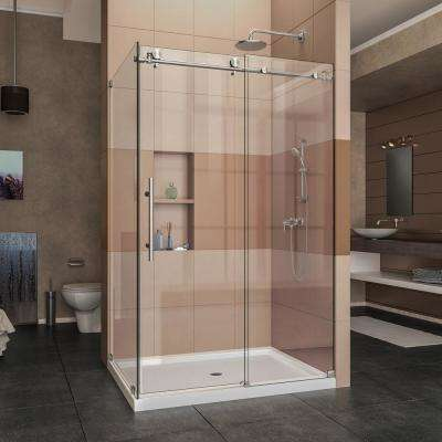 Enigma-X 32 1/2 in. D x 48 3/8 in. W x 76 in. H Frameless Corner Sliding Shower Enclosure in Brushed Stainless Steel