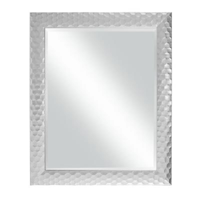 Medium Rectangle Metallic Silver Beveled Glass Modern Mirror (33.5 in. H x 27.5 in. W)