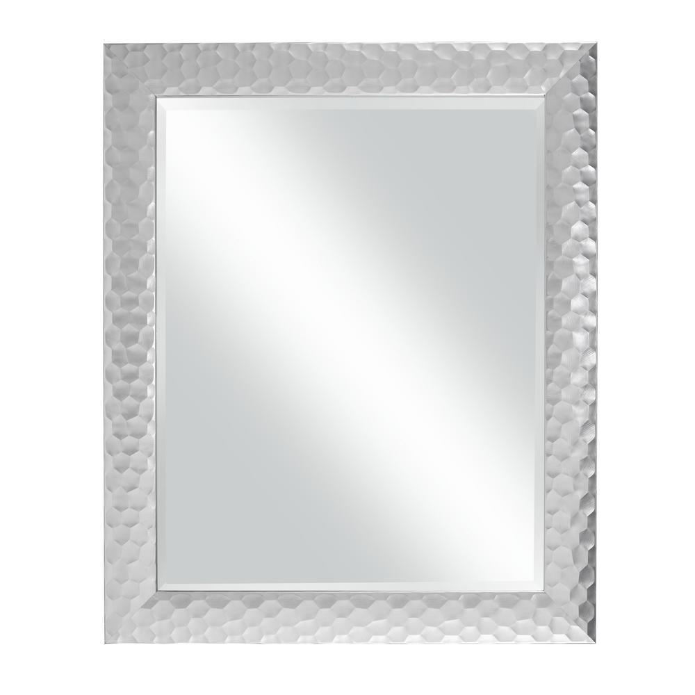 "Glam 33.5"" x 27.5"" Wall Mirror, Metallic Silver"