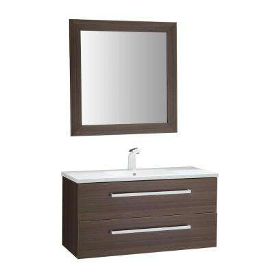Conques 39 in. W x 20 in. H Bath Vanity in Rich Brown with Ceramic Vanity Top in White with White Basin and Mirror