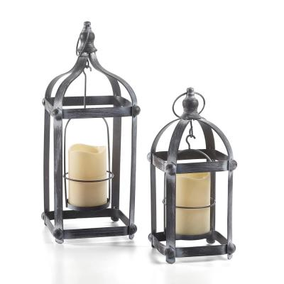 Bradford Metal Integrated LED Candle Set of Small and Large Battery Powered Lanterns