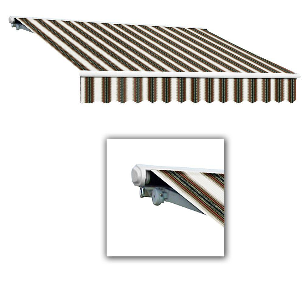 AWNTECH 8 ft. Galveston Semi-Cassette Left Motor with Remote Retractable Awning (84 in. Projection) in Burgundy/Forest/Tan Multi