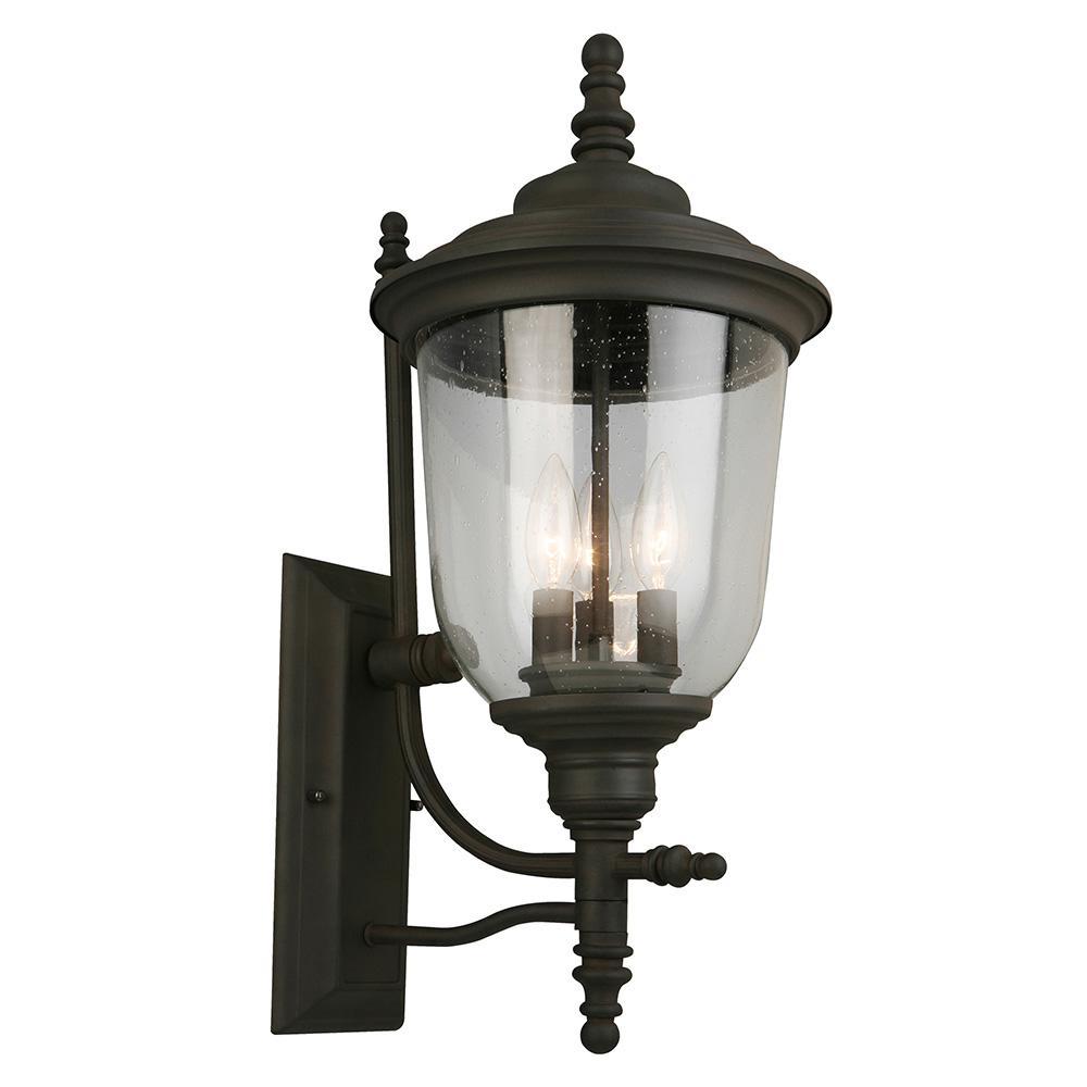 Pinedale 3-Light Matte Bronze Outdoor Wall Mount Lantern