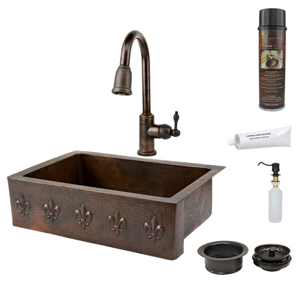 All-in-One Undermount Copper 33 in. 0-Hole Single Bowl Kitchen Sink with