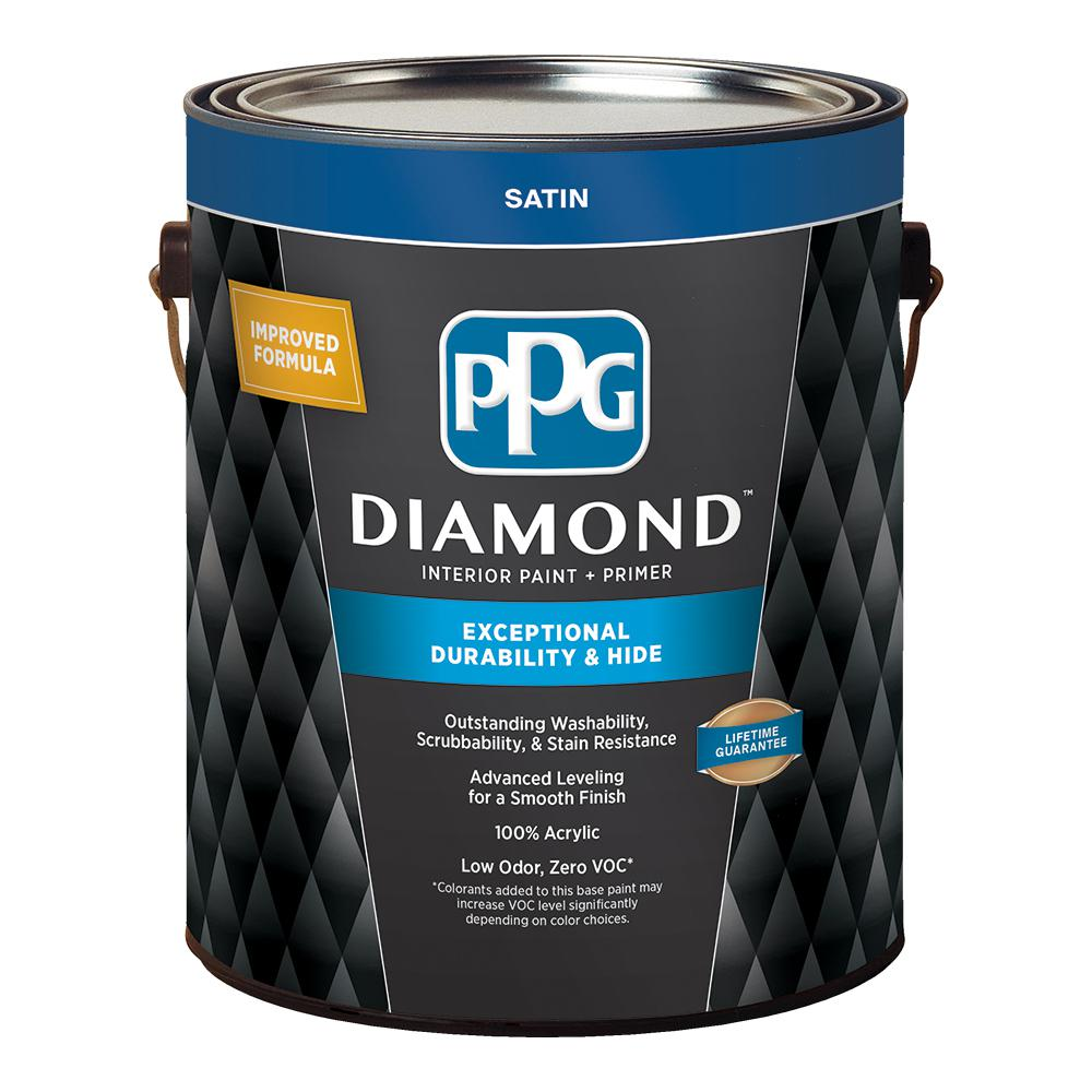 PPG Diamond 1 gal  Pure White Satin Interior Paint and Primer