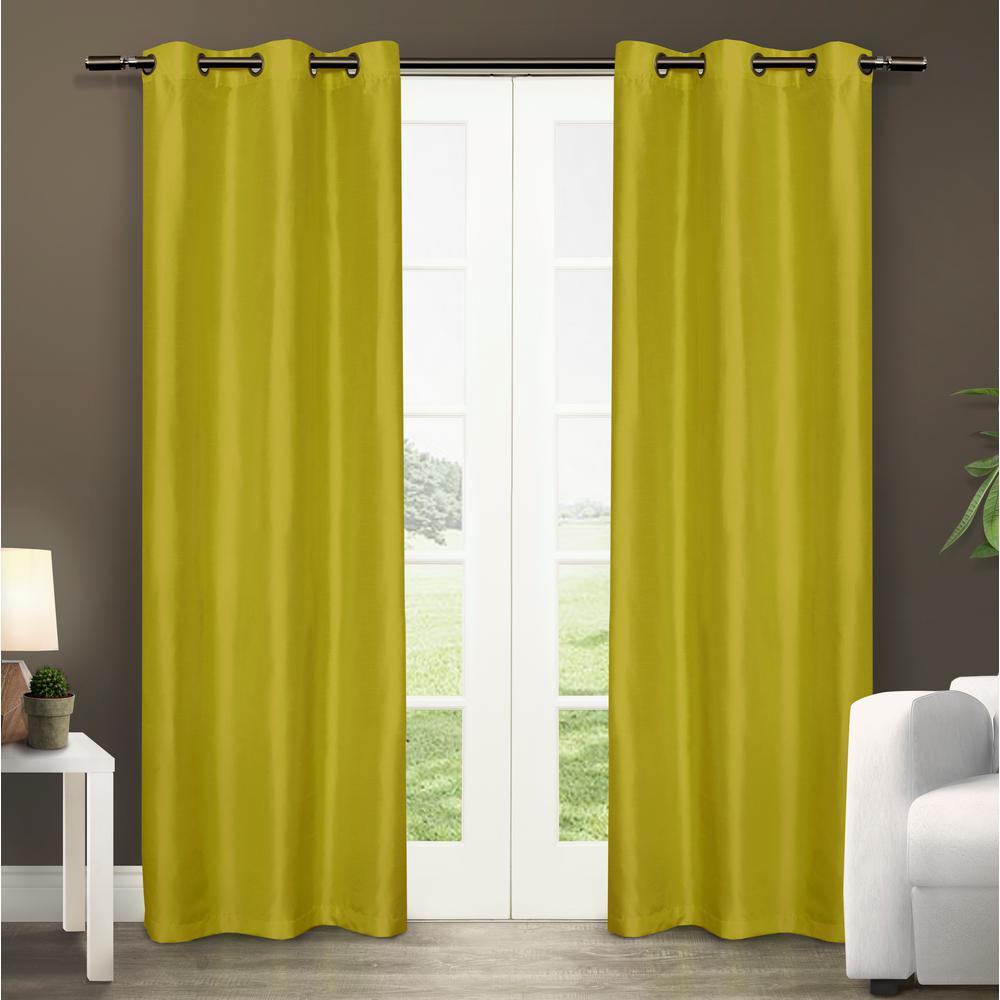 Dupioni Lime Vibrant Faux Silk Grommet Top Window Curtain