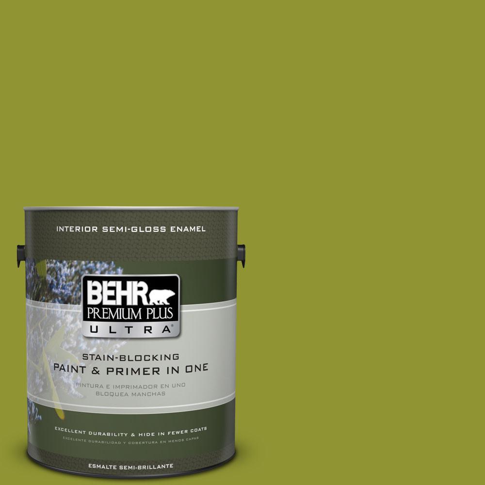 1 gal. #S-H-410 Appletini Semi-Gloss Enamel Interior Paint and Primer in