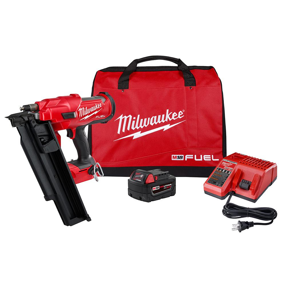 Milwaukee M18 FUEL 3-1/2 inch 18-Volt 21Degree Lithium-Ion Brushless Cordless Framing Nailer Kit w/ 5.0 Ah Battery, Charger, Bag