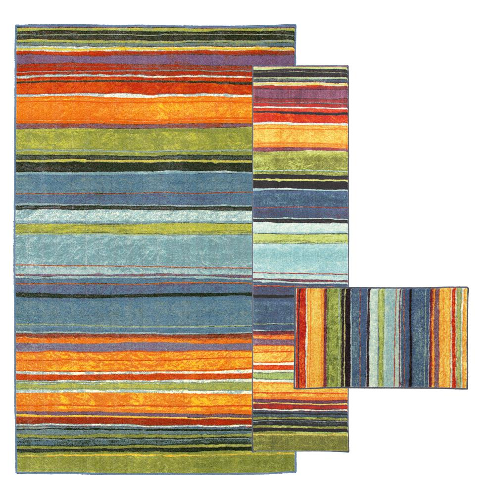 Rainbow Multi 8 ft. x 10 ft. 3-Piece Rug Set