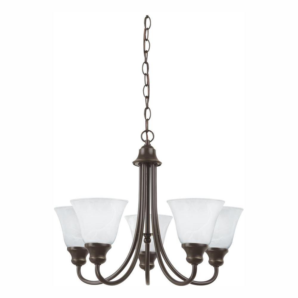 Windgate 5-Light Heirloom Bronze Chandelier with LED Bulbs