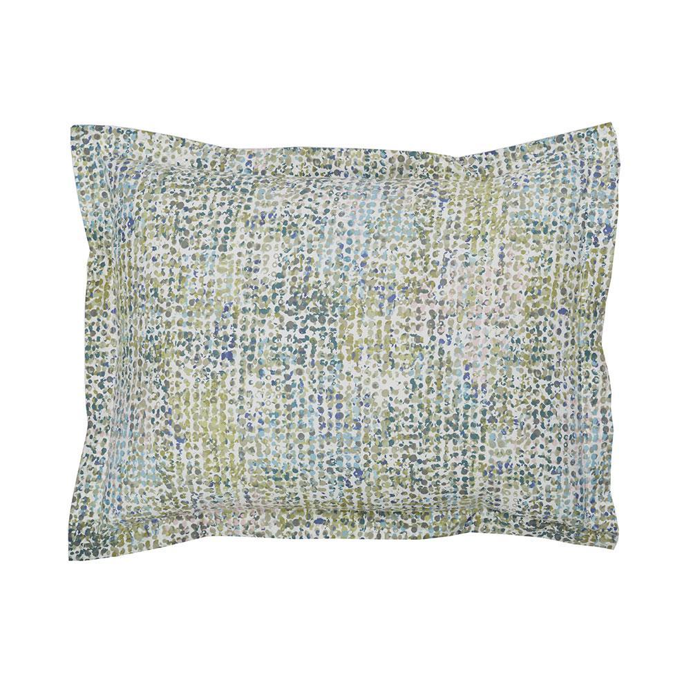 Pixel Green Cotton Percale King Sham