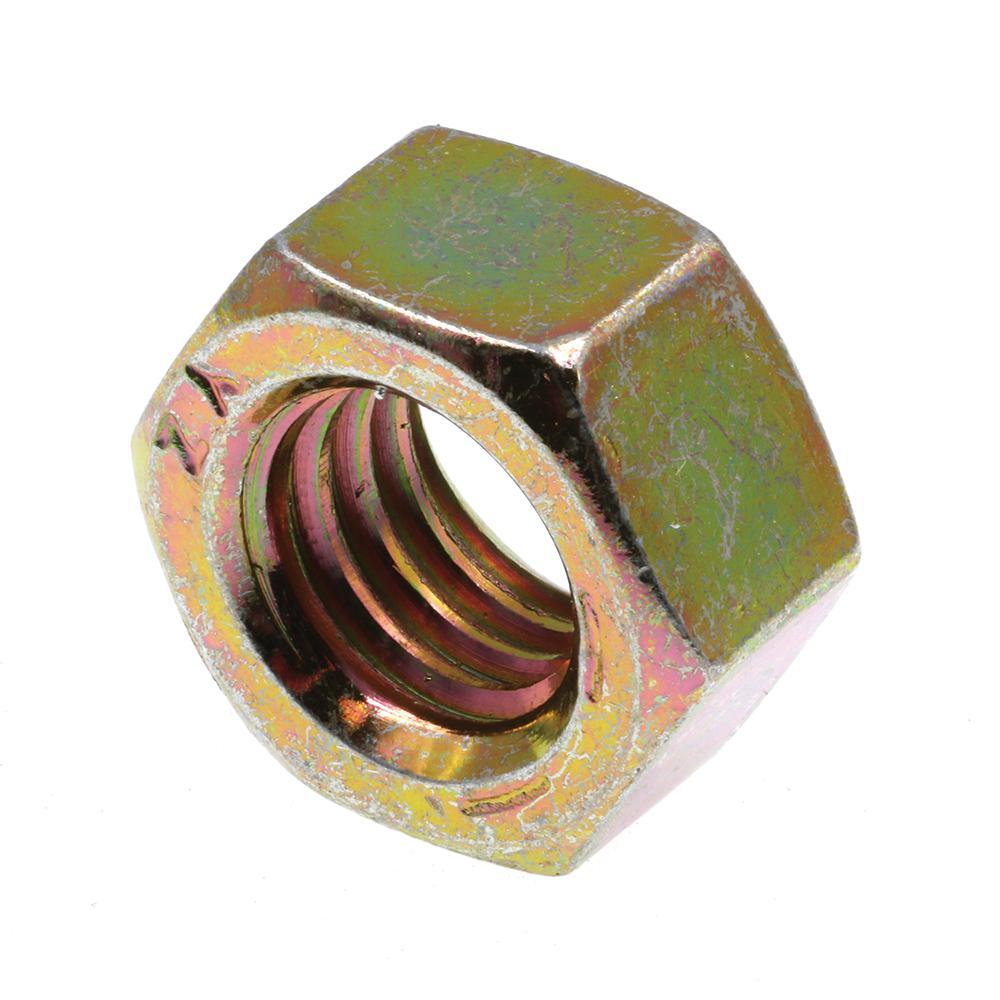 Grade 8 Steel RH 7//16-14 x 1//4 Height 25 Pcs of Zinc Yellow Thin Hex Nut