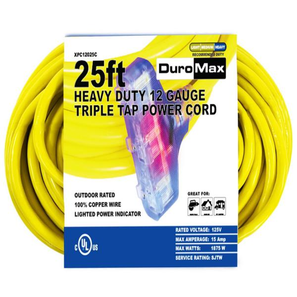 25 ft. 12/3-Gauge Triple Tap Extension Power Cord
